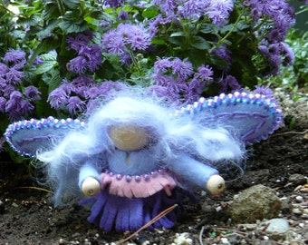 Blue Wool Felt Fairy, Peg Doll Fairy, Waldorf Inspired, One of a Kind, Miniature Fairy Peg Doll