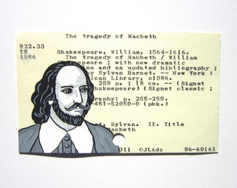 William Shakespeare Library Card Art - Print of my painting of William Shakespeare on library card catalog card