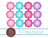 INSTANT DOWNLOAD Girl Scalloped Circle Alphabet and Numbers Clipart - Digital CLip Art - Commercial Use