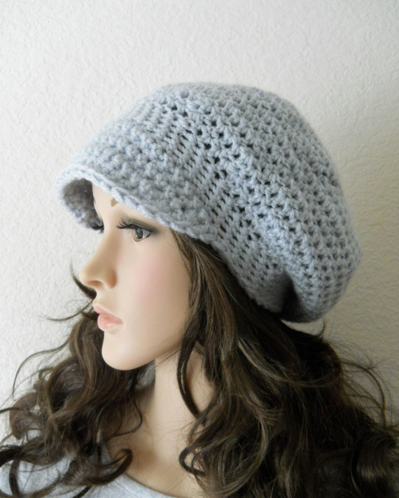 Newsboy Hat Crochet Womens Slouch Beanie with Brim Winter