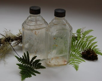 Antique Shabby Apothecary bottles. Rexall drug bottles. Antique shabby bottles