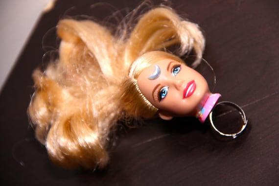 Blonde Barbie Doll Head Sailor Moon Kawaii Adjustable Ring