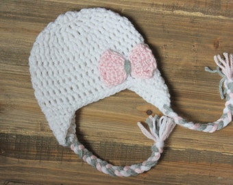 Baby Girl Earflap Bow Hat, Toddler Girl Crochet Hat, White Baby Girl Hat with Light Pink Bow