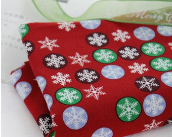 Christmas Fabric Snowflakes on Cotton Fabric - Red - Holiday Fabric - By the Yard 43562
