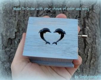 music box, dolphins, dolphin music box, music boxes, wooden music box, custom music box, personalized music box, music box shop