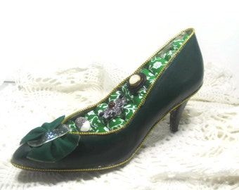Green High Heel Shoe Decorative Ring Holder - Greenery Upcycled Ring Holder - Jewelry Organizer Ring Holder - Stud Earring Organizer Holder