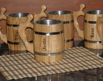 4 Wooden Beer mugs with your names, n01
