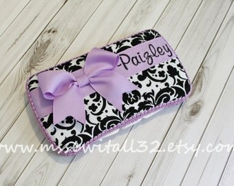 Custom Black and White Damask  Diaper Wipes Case - You Pick Accent Color