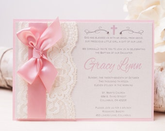 20% OFF - GRACY Lace Invitation, Pink Baptism Invitation, Christening Invitation, Baby Shower Invitation, Bow Invitation
