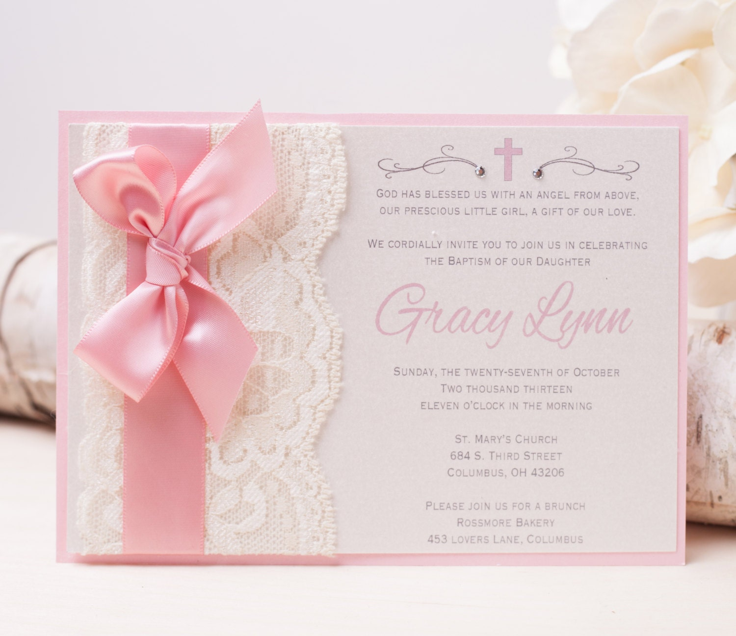 20 Off Gracy Lace Invitation Pink Baptism Invitation