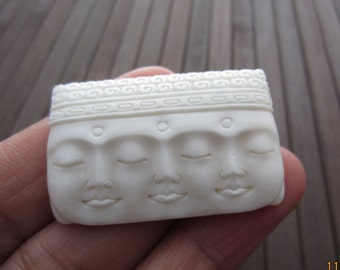 Amazing detail three Buddha face Carved Bone Cabochon, Embellishment, Jewelry making Supplies B3833