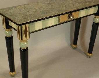 Sofa Table-Turned Legs:  Aqua-Ivory-Anthropologie Knob, Custom Made-To-Order