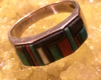 Vintage Southwestern Sterling Silver Multi Stone Turquoise & Spiny Oyster Ring