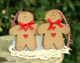 Christmas Gift Tags - Set of 6 Holiday gift tags with twine - Gingerbread Men - To From