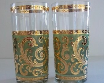 Signed Culver Glasses - Gorgeous Vintage Green and Gold Hollywood Regency Mad Men Bar Ware - Fit for a King and Queen - Vintage Drinkware