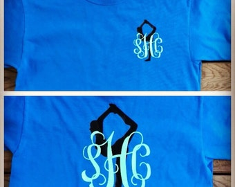 Personalized Gymnast Monogram Tee T-shirt
