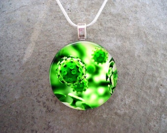 Virus Jewelry - Glass Pendant Necklace - Science Jewellery - Virus 15