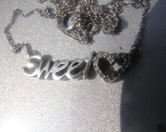 Sterling Silver Sweetheart Diamond Necklace 243