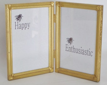 Vintage Gold Tone Hinged Metal Picture Frames 5 x 7