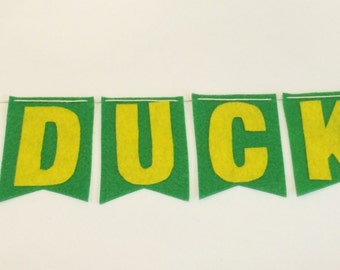 GO DUCKS! felt flag banner in green and yellow