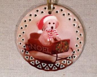 Golden Retriever NOEL Sled Ornament