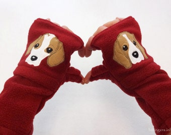 Your Beagle Gift. Fingerless Gloves with Pockets for Dog Lovers Customized