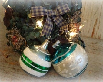 vintage blue, green & silver mercury glass christmas tree ornaments / set of 2
