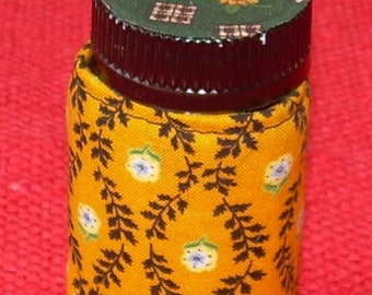 Triangle YELLOW and GREEN Fabric QUILTED Pill Bottle for meds, candy, gift bag, etc