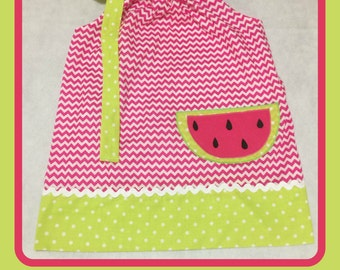 Chevron and Dot Watermelon Dress
