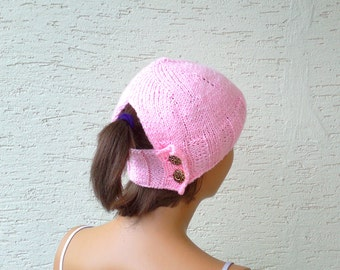 Ponytail hat, holed beret, for women , knitted hat for women, in any colors, gift for her, valentines day gift, womens clothing