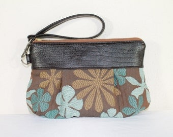 Blue Brown Floral Clutch Pleated Purse Removable Wrist