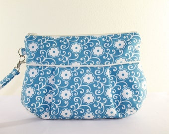 Blue and White Floral Pleated wristlet Clutch Bridesmaid Gift Wedding Clutch