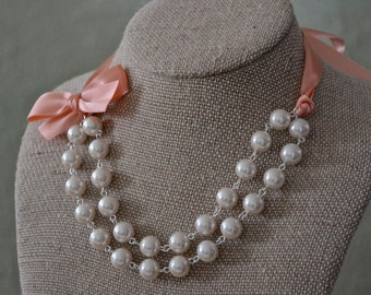 Abigail: Double / Two Strand Linked Pearl Necklace - Ivory Pearls with Peach Ribbon & Bow