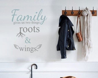 Family gives us quote words wall decal vinyl sticker | 58cm x 69cm / 22 x 27 inches