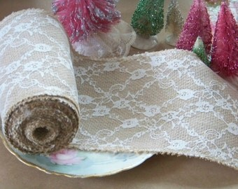 Burlap and Lace Ribbon, Burlap Ribbon, Burlap Trims, Lace and Burlap, Lace Trims, Lace Ribbons, Romantic, Wreath Supplies, Shabby Style