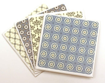 Coasters set of 4, Ceramic Coasters, retro coasters,elegant, ready to ship
