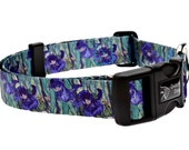 Van Gogh Irises Fashion Dog Collar - Made From Recycled Webbing