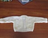 Hand knit ivory little flower girl shrug