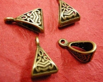 10pc antique bronze fancy pendant bail-4118