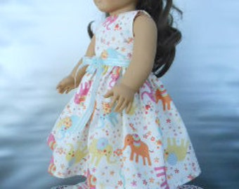 "AG Doll Dress - Multi-colored Elephants Handmade Dress fitting American Girl & Similar 18"" Dolls Doll Clothes"