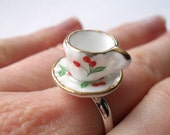 Mini ceramic tea cup ring with cherry pattern