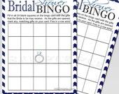 Bridal Shower Bingo Game Printable Chevron Navy BlueInstant Download
