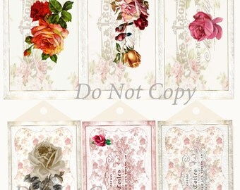 Digital Download Tags Gift Tags Victorian Romantic Roses Collage Printable Scrapbook