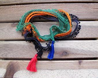 Crochet Lariat Necklace, Crochet Jewelry, Beadwork, Traditional Turkish Oya, Orange, Green, Black, Oya Beaded Lariat, Spring Trends, For Her