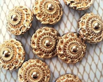 9 Gold Hand Painted Glass Buttons - 24K Gold Czech Buttons - Gold Chain Link Button