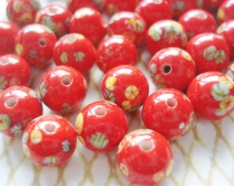 Vintage Red Millefiori Ceramic Beads, 10 Flowered Beads - Red Ceramic Floral Beads