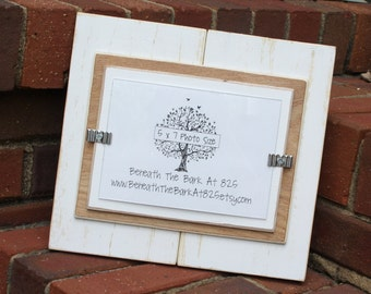 Picture Frame - Holds a 5x7 Photo - Distressed Wood - Smooth Wood - White, Natural Wood and White