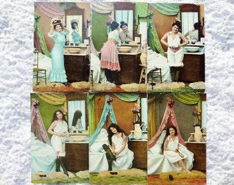 Vintage German Postcard Set Woman Preparing For Bed 6 Postcards