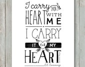 I carry your heart with me - EE Cummings - Printable - 5x7, 8x10 and 11x14