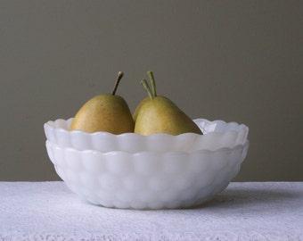 Vintage Milk Glass Serving Bowls Set. Anchor Hocking-Set of 2-French Kitchen